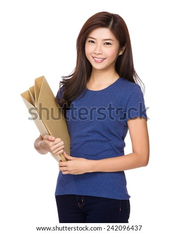 Woman hold with file pad