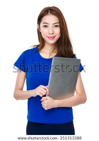 Woman hold with laptop