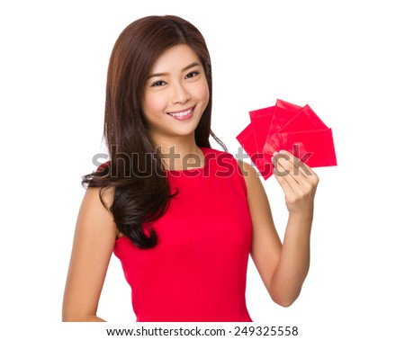 Woman hold with red pocket