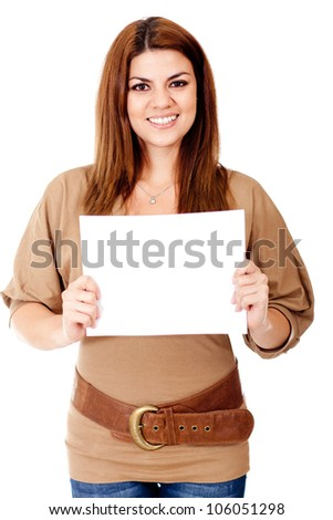 Woman holding a banner - isolated oevr a white background - stock photo