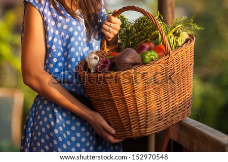 Woman holding a basket with healthy Fresh Organic Vegetables. Harvest. - stock photo