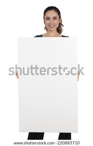 Woman holding a blank banner