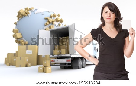 woman holding a blank note,  in an international transportation context, ideal for inserting your own message. The map texture is from the Nasa free of use images - stock photo