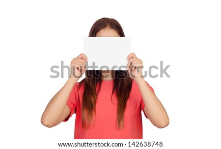 Woman holding a blank paper covering her face isolated on white background - stock photo