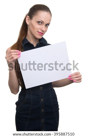 woman holding a blank placard. Isolated on a white background