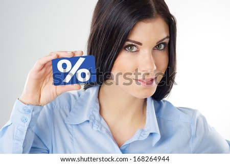 woman holding a blue card - stock photo
