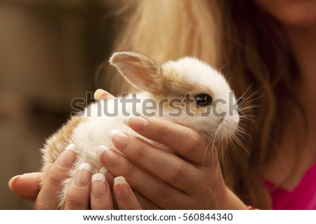 Woman holding a bunny