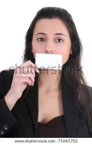 Woman holding a business card over white - stock photo