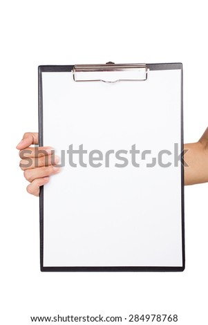 woman holding a clipboard on white background - stock photo
