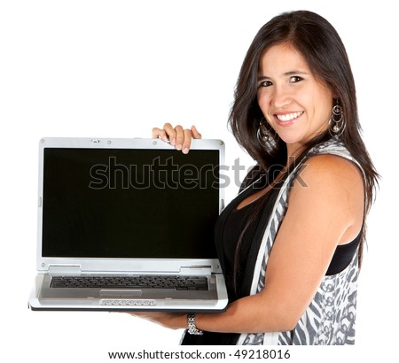 Woman holding a computer isolated on white