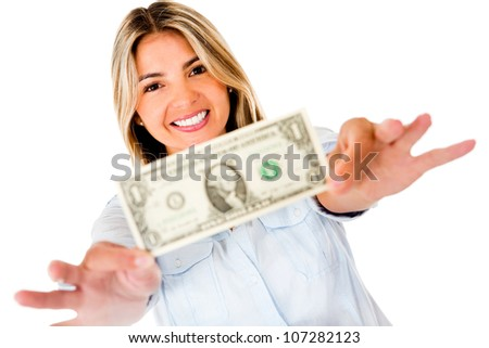 Woman holding a dollar bill - isolated over a white background
