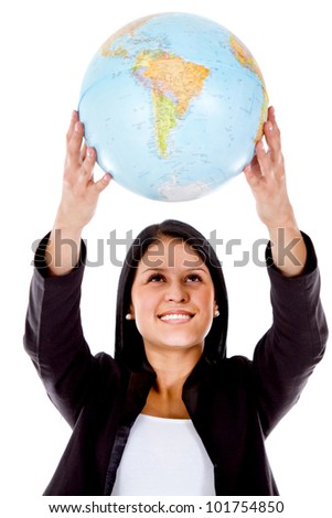 Woman holding a globe - isolated over a white background - stock photo