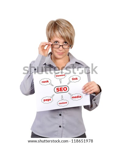 Woman holding a placard graph seo - stock photo