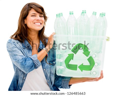 Woman holding a recycle bin - isolated over a white background