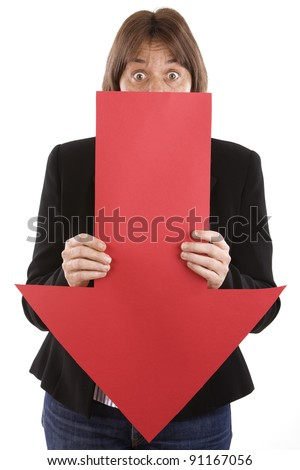 woman holding a red arrow pointing down, professional failure