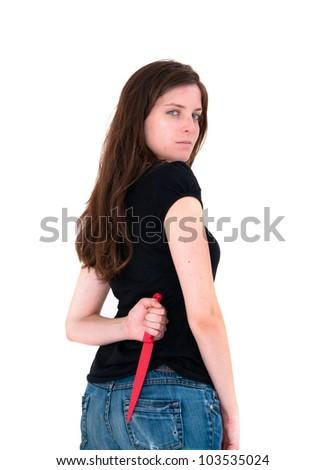 woman holding a sharp knife - stock photo