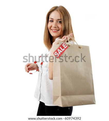 woman holding a shopping bag ,isolated on white - stock photo