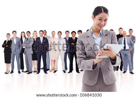 Woman holding a tablet computer against a white background - stock photo