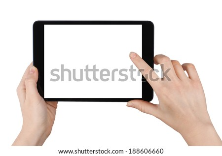 Woman Holding a Tablet PC and Clicking on It. Isolated on White Background - stock photo