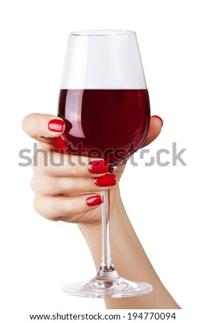 Woman holding a wine glass on white background.  - stock photo