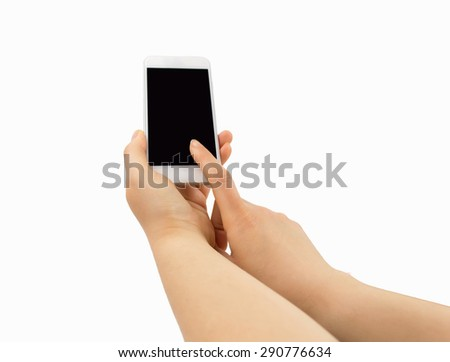 woman holding and touching the modern smartphone isolated on white background - stock photo