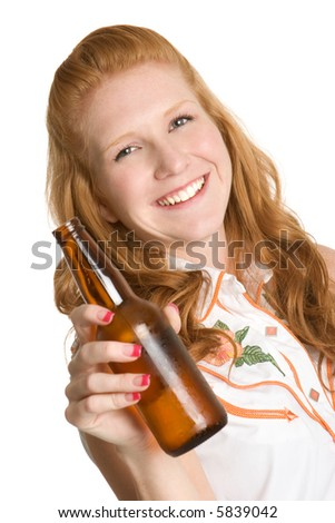 Woman Holding Beer Bottle