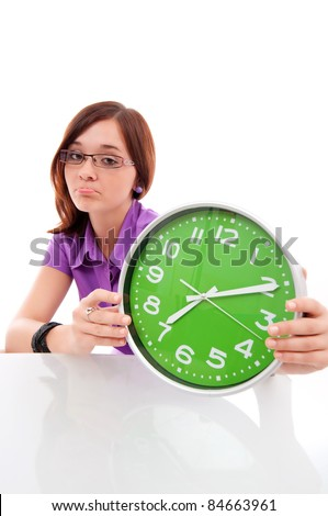 woman holding big green clock - stock photo