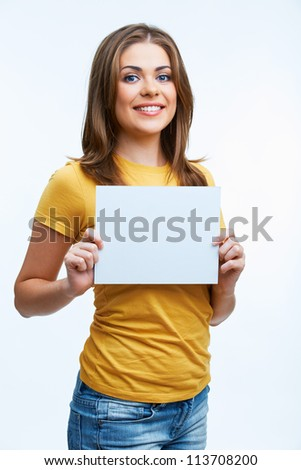 Woman holding blank card. Isolated on white background smiling female portrait. - stock photo
