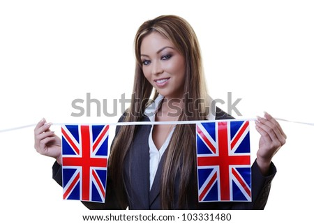 woman holding british flag bunting  out