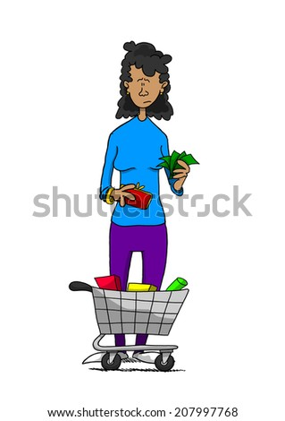 Woman holding cash with small grocery cart - stock photo