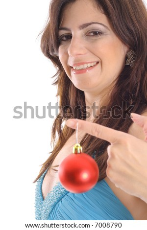 woman holding Christmas ornament