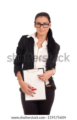 Woman holding clip board - stock photo