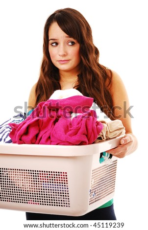 Woman holding dirty laundry isolated on white