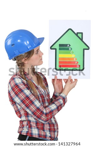 Woman holding energy-rating poster - stock photo