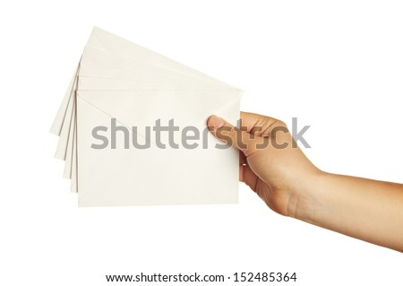 woman holding envelope isolated on white background