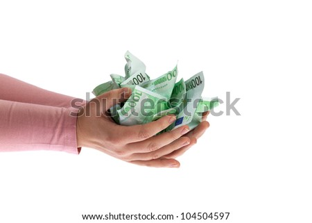 Woman holding Euro notes in her hand