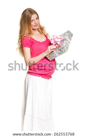 Woman holding gift box on white background, present, gift - stock photo