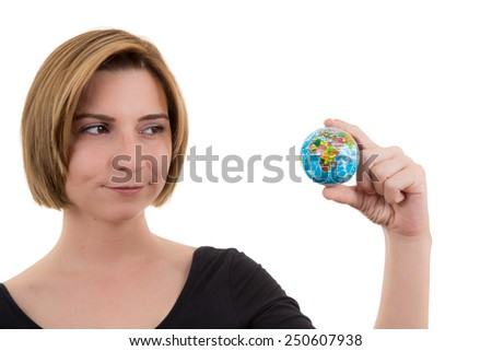 woman holding globe - stock photo