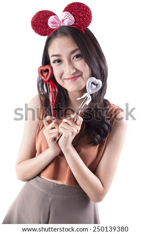 Woman holding heart isolated on white background