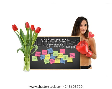 Woman holding heart shaped cookie with Backboard w/ valentine day gift for her / post it notes (box of chocolate, jewelry, spa, dinner, movie, money, manicure, pedicure, roses, & more  - stock photo