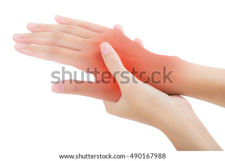woman holding her beautiful healthy back hand side and massaging in pain area with red highlighted, Isolated on white background.