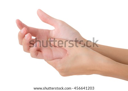 woman holding her beautiful healthy hand and massaging in pain area, Isolated on white background.