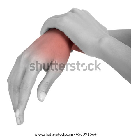 woman holding her beautiful healthy wrist  and massaging in pain area black and white color with red highlighted, Isolated on white background.
