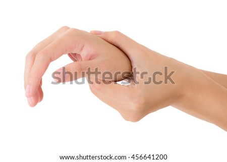 woman holding her beautiful healthy wrist  and massaging in pain area, Isolated on white background.