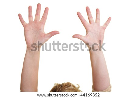 Woman holding her empty hands over her head