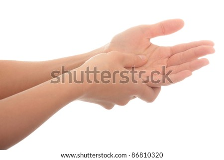 Woman holding his hand - pain concept