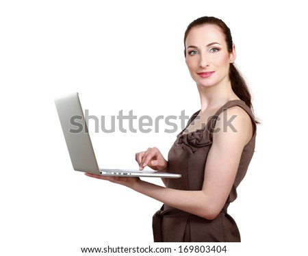woman holding laptop, isolated on white background