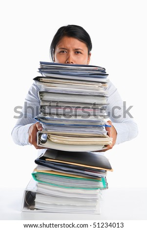 Woman holding lot of paper, concept for heavy workload