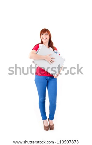 young asian stdudent showing card royalty free stock image