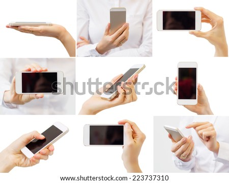 Woman holding mobile phone, collage of different photos - stock photo